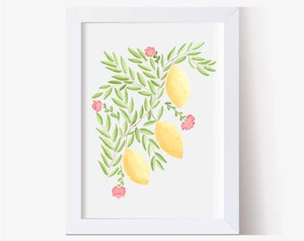 Lemon Art Print, Watercolor Lemon, Lemon Wall Decor,  Watercolor Lemon Art, Watercolor Blossoms Art Print, Kitchen Decor, Country Art