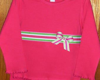 Girl's Lettuce-edge t-shirt and matching ruffle pant in hot pink with ribbon trim size 4T