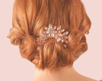 Floral Vintage Bridal Hair Comb - Gold Crystal Bridesmaid Hair Accessory - Wedding Prom Headpiece