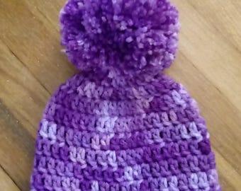 Crochet newborn hat with deluxe pompom