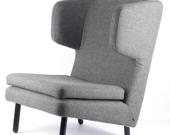 Bolia retro mid-century modern funky wingback armchair upholstered in grey wool
