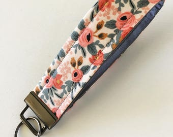 Les Fleurs Floral by Rifle Paper Co. fabric key wristlet/fob/quilted/keyring