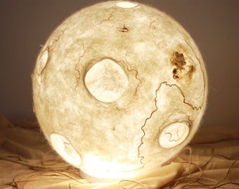 One of a Kind, Felted Lamp, Moon, Wool lamp, Night light.