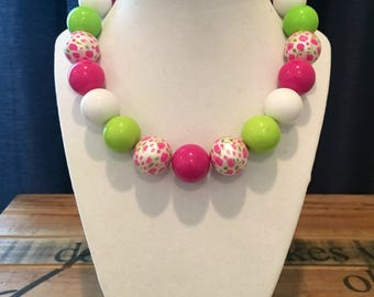 Lime green, pink, floral and white girls Bubble gum necklace