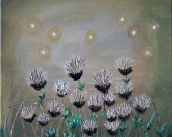 Thistles, country, textured, whimsy, cottage, fireflies,fields,acrylic, canvas,mothers day, gift, abstract, realism, art, birthday gift