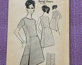 Vintage 1960's pattern - Dress with three sleeve options - Bust size 36""