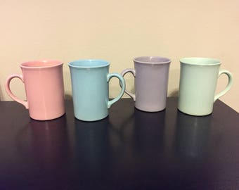 On sale, Colorful Cups,  Made in England, Mugs, Set of 4, pink, purple, green , blue