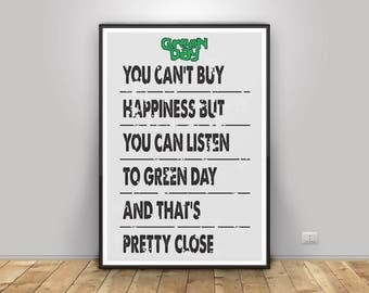 Green Day poster print wall decor moc dictionary page printable digital download