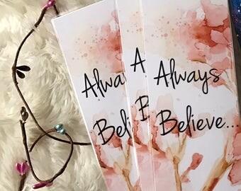 Always Believe cherry blossom bookmark