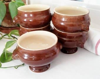 Set of 5 bowls/tureens for onion soup, lion head handle
