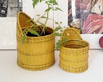 Lot of 2 cache pot yellow rattan. France.