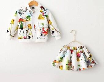 Skirt and Matching zip jacket