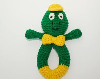 Crochet frog rattle, newborn gift, baby toy