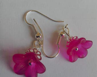 Flower blossom pink earrings