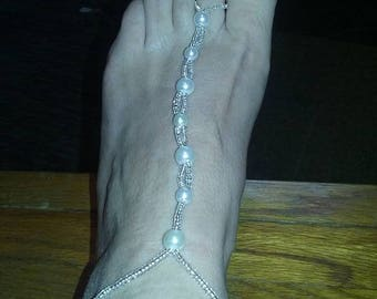 White Pearl Beaded Bare Foot Sandals