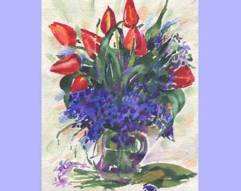 Watercolor painting, flowers in a vase , a small still-life, Tulips  red flowers 21x16cm