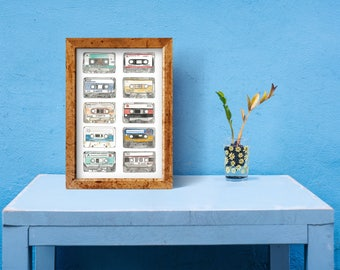 Cassette Tapes Art Print by Lauren Hessey. Watercolour Pen Drawing Illustration. No.1 of a Series. A3 Size.