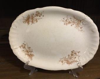 "Vintage Adamantine China Semi-Porcelain Cream Platter - 13.5 Inch x 9.75"""
