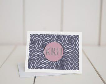 Quatrefoil, Monogramed, 5.5x4 folded note card