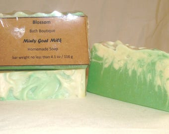 Spearmint Tea Tree Goat Milk Soap-Homemade-Handmade-Essential Oil-Natural