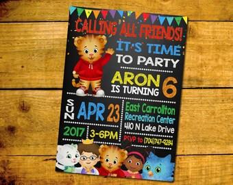 Daniel Tiger Birthday Invitation -Daniel Tiger Birthday Party Invitation -Daniel Tiger Printable Digital File-Daniel Tiger Invitation