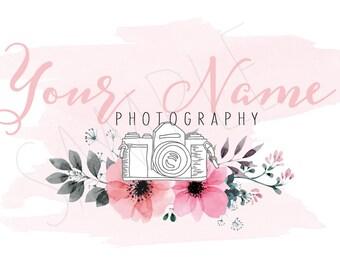 Pre made Watercolour Camera Logo - Floral Watercolour