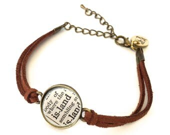 Island Dictionary Bracelet - Made from a vintage dictionary. Birthday Gift, Graduation Gift, Unique Gift, Gift for Her, Boho Chic