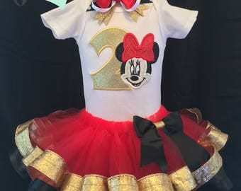 Minnie Mouse Birthday Tutu Outfit -  Number 1 2 3 4 5 6 7 8 9 - Size 12M 24M 2T 3T 4T 5 6 6X 7 8 - Red - Glitter