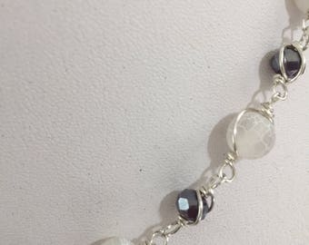 White onyx and Australian crystal necklace and earrings