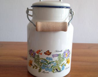 Enameled milk pot, planter, shabby chic french
