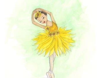 Sunflower watercolor ballerina