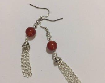 Red Agate Tassel Earring