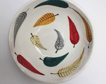 Leaves bowl, big ceramic bowl