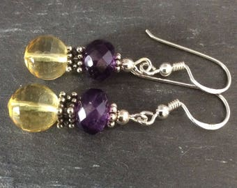 Citrine and amethyst earrings with silver. Citrine size 9mm
