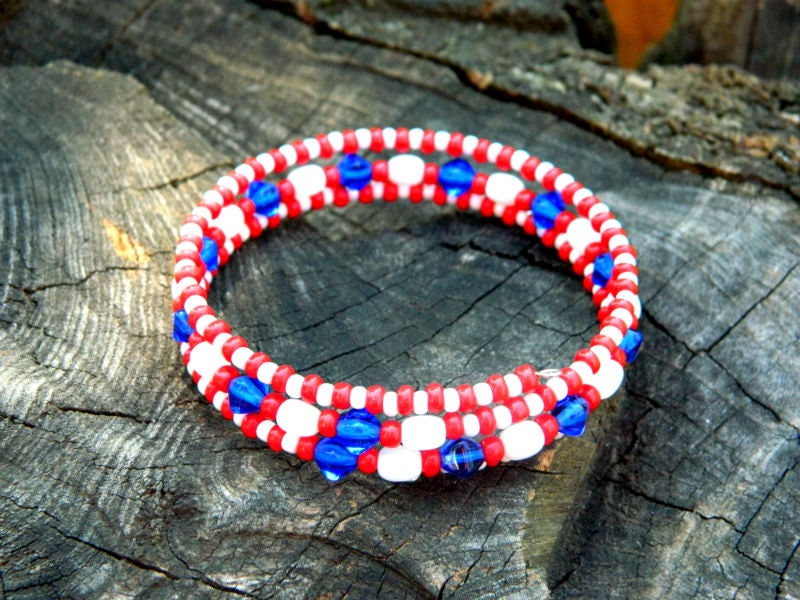 Patriotic USA Cute Bracelet Boho Summer Jewelry Gift