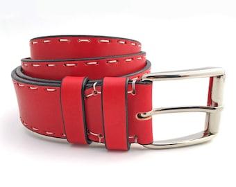 Red Leather Belt, Full Grain Leather Belt, Women's Leather Belt, Men's Leather Belt