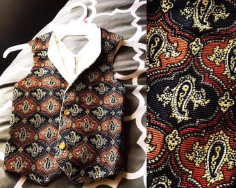 Little Boy Vest, hipster/vintage looking pattern.
