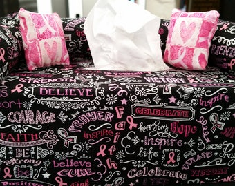 Tissue box covers NFL and cancer Awareness