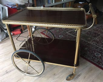 Trolley Bar vintage Tin and tables structure wood and plate, excellent condition