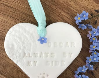 Personalised clay hanging heart. Pet Memorial or special person, family.