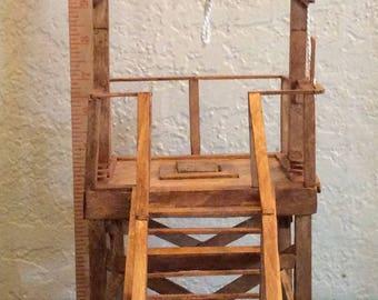 Handmade miniature of Folsom prison gallows