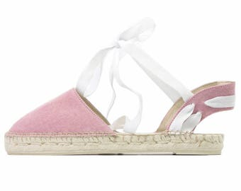 Lace up pink denim espadrilles made in Spain