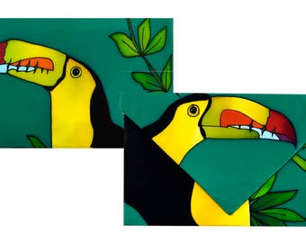 Exclusive clutch in natural silk hand painted model Toucan