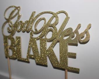 Gold glitter Paper cake topper