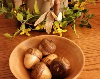 Hand turned wood bowl with wood acorns