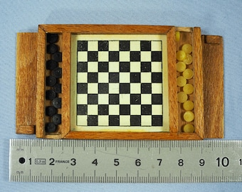 Antique Dollhouse Miniature Checkers Set in the Box