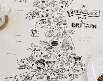 The Delicious Map of Britain Tea Towel