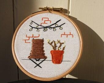 Garden Scene Embroidery Hoop