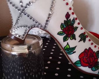 hand drawn and decorated rockabilly/alternative shoes