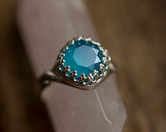 Ocean Blue Swarovski Crystal Adjustable Ring